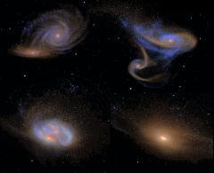 Dos galaxias en fusión