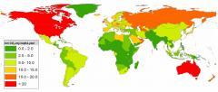 Las emisiones mundiales de gases de efecto invernadero per cápita en 2005